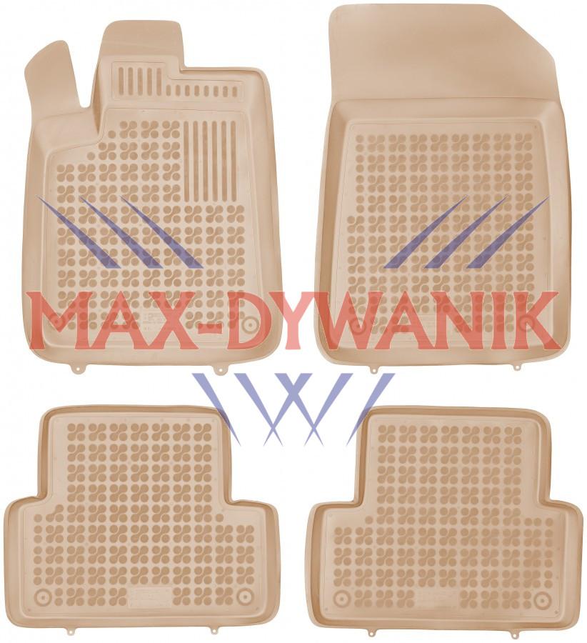 Rezaw-Plast beżowe gumowe dywaniki samochodowe Citroen C5 od 2001-2008r